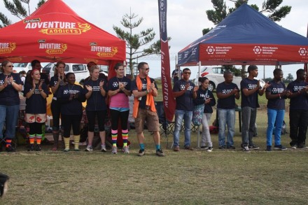 The team members of the three NMMU teams applauded the cancer survivors and their caretakers as they completed the final stretch around the relay track. Photo by Justine Dickinson