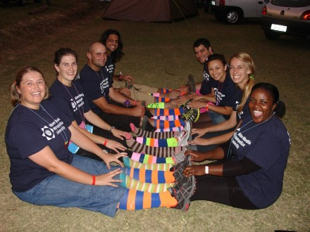 Equipped with their walking socks... NMMU students who are completing their Master's Degree at the George Campus displayed their creative flair by wearing colourful socks for a special lap at the event. The students are from left row, back to front, Aneri Vlok, Amanda Pontier, Ryno Pienaar and Willem Matthee. Right row, front to back: Tatenda Mapeto, Abigail Crisp, Verouschka Sonn and Salomon van Zyl. Photo by Heidi Sonnekus