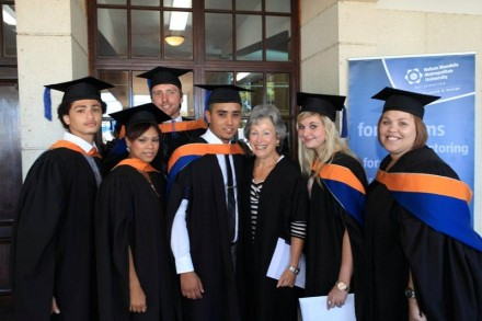 Proud Accounting lecturer, Ms Jane Fountain, with a few of the BCom students who graduated on 12 April.