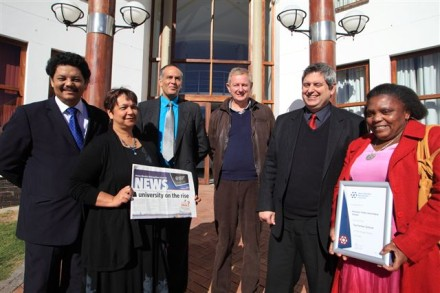 Partners in education… Prof Quinton Johnson, NMMU George Campus Principal (left) with Prof Denise Zinn, NMMU's Executive Dean for Education, who delivered the keynote address at a stakeholder event during the university's recent Open Day in George, with some of the attendees – Dr Rajesh Maharaj, Deputy CEO at South Cape College, Mr Christo Vorster, Principal of Hoërskool Outeniqua, Mr Francois Moll, Principal of York High School, and Mrs Pumla Cona, Deputy Principal of Imizamo Yethu Secondary School.  NMMU George also acknowledged its top partner schools, based on enrolments from these schools at George Campus in 2013, at this occasion.