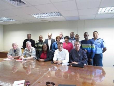Eberhardt Knapp, Wolfgang Theis, Nthangeni Thiavashe, Stephan Lutz and Erik Buiten were part of the visiting delegation. At the back from left is Kidron Kaboni,Cllr Fanele Guga, Trevor Botha, Vidonia George, Cllr Rassie Erasmus, Cllr Clareen Remas, Cllr Isaiha Stemela, Modisane Mekwa, Sifiso Mtshweni, both part of the delegation, and Mark Green, Traffic Chief.