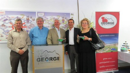 Councillors and Harold Basson, director:Engineering Services: George Municipality at the opening of offices of Go George public transport system.