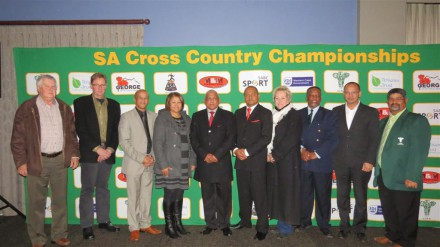 At the launch of the event is from left, Cllr Rassie de Villiers, Portfolio Councillor for Sport, Mr Johan Streuderst from DECTI Raising-the-bar/Tirisano Trust (sponsor), Cllr Daniel Maritz, Executive Deputy Mayor of George, Ms Shireen Noble, Vice-President ASWD, Mr Moses Gericke, President of ASWD, Mr Nazeem Mathews from M&M Marketing (sponsor), Cllr Iona Kritzinger, Portfolio Councillor of Community Safety, Mr Kidron Kaboni, Senior Sports Official at George Municipality, Mr Trevor Botha, Municipal Manager of George Municipality and Mr Joe Arendse, ASWD Cross Country Chairman.