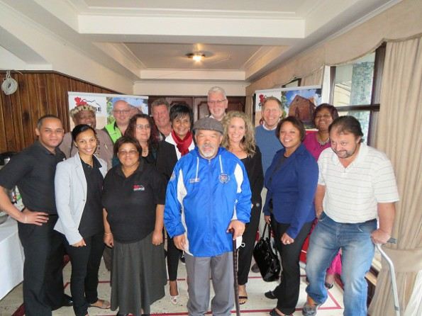 In front are Graham de Swart (George Tourism), Melanie Martins (George Tourism), Dorothea Jantjies (George Tourism), Chief Jacob Theron (Khoi-Khoileier), René Linnert (Eden District Municipality) and Bruce Middleton (South Cape Net and The Gremlin). At the back are Chief Jacob Lotriet (iXamBoesman), Carl van Blerk (Garden Route and Klein Karoo Pass),CiscaKoekemoer (Aqua Eden Resort),Albert Hoffmann (Xanadu Guest Villa), Claudine Carelse (Acting Tourism Manager: George),Pieter Pepler (Manager: Office of the Executive Mayor of George), Mariette du Toit-Helmbold from Destinate, facilitated the workshop,Michael Cook (Outeniqua Tourism Association) and Rose Lewis (Local Economic Development: George Municipality)