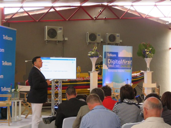 Here Mr Pierre Marais Exeutive: Telkom Smaller Medium Business Services addresses the audience during the presentation