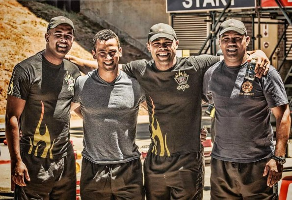 Eden Firefighters (fltr): Messrs Edwin Lottering, Deon Stoffels, Emile Conrad and Branville Abrahams after their victory with 3rd place in the Relay discipline