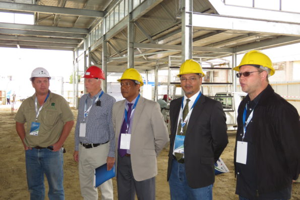 From left Brad Stockigt, C and B Construction, Brian Stokes, Brink Stokes Mkhize Architects ; Executive Mayor Melvin Naik; Municipal Manager Trevor Botha and James Robb, GO GEORGE Operational Manager