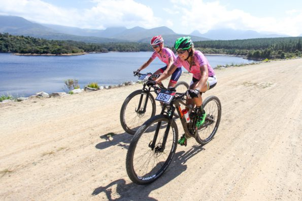 4.The OMX Pro MTB duo of Cherie Redecker (left) and Mariske Strauss (right) raced to thier fourth straigh stage victory on Stage 3 of the Cape Pioneer Trek, on 19th of October 2016. Photo by Oakpics.com