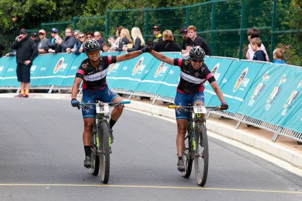 Team Ascendis Health's Robyn De Groot (George) and Jennie Stenerhag secured their second stage victory and the overall Women's Champions Title after Stage Three of the FNB Wines2Whales (W2W) Mountain Bike (MTB) Race at the Onrus Caravan Park on Sunday, 13 November 2016.  Seen here:  Robyn De Groot and Jennie Stenerhag claiming victory in Onrus.  Photo Credit:  Jetline Action Photo