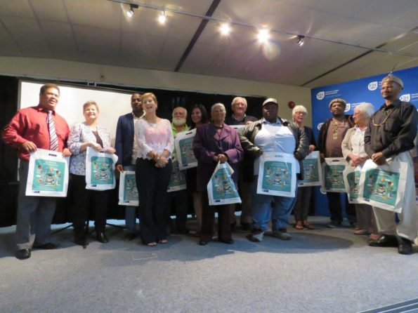 The Honourable Minister of Cultural Affairs and Sport, Anroux Marais, with the people who were honoured for participating in the Oral History capturing project