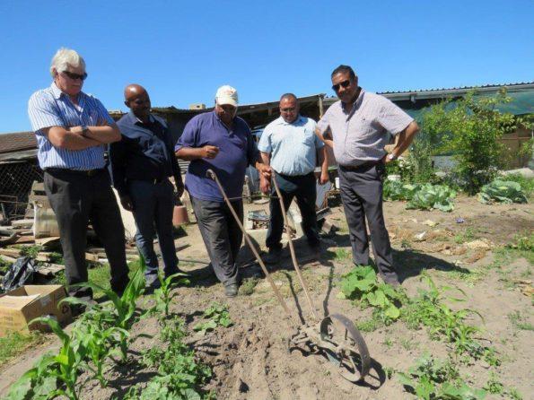 Oom Johnnie Carolus (74) wys hoe word daar in sy tuin geploeg