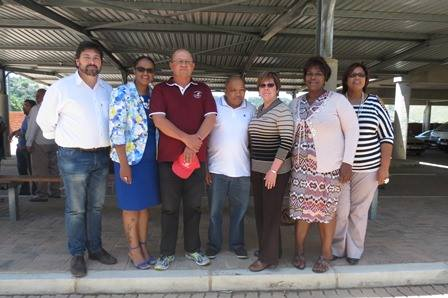 From left: Councillor Mark Willemse, Knysna Executive Mayor Georlene Wolmarans, Thomas Motha (Uncedo Taxi Association), Councillor Clive Witbooi, Deputy Executive Mayor Esmé Edge, Councillor Mertle Gombo and Councillor Irene Grootboom