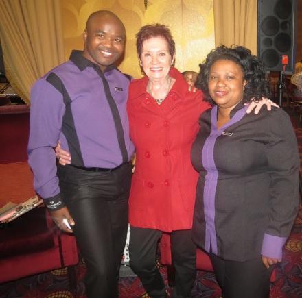 From right to left: Garden Route Casino's host Vuyo Mfumbe who hosted the draw, winner Martha Fivaz and Host Supervisor Jully-Ann Bolligelo