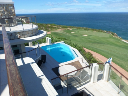 R14.9m home: This stylish, fully-furnished four bedroom (all en suite) home in Pinnacle Point Beach & Golf Resort is marketed by Pam Golding Properties at R14.9 million. With panoramic views, the property includes two bedroom staff quarters, spacious cinema room, wine cellar, outdoor deck areas, rim flow pool and Jacuzzi.