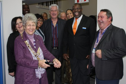 From left to right: Alderlady Marie Ferreira (Executive Mayor of Mossel Bay), after cutting the ribbon,  Kobus van Vuuren (Regional Key Account Manager at Metropolitan), ET Zungu (Regional Manager: South Coast Region at Metropolitan) and Japie Mostert (Regional General Manager: Metropolitan Retail)