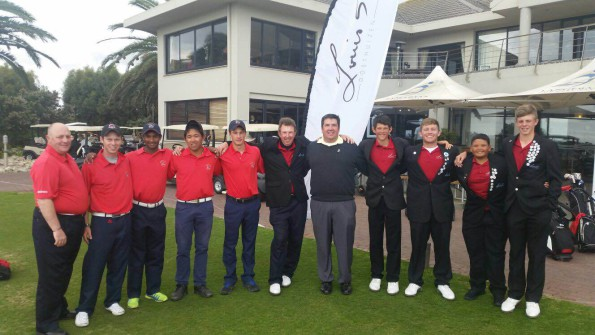 Champions Modderfontein Golf Club and runner's-up Louis 57 Golf Academy with SAGA Golf Integration Manager Eden Thompson and Petrie Cronje from Louis 57 at the Louis Oosthuizen SA Junior Club Team Championship at Langebaan Country Estate
