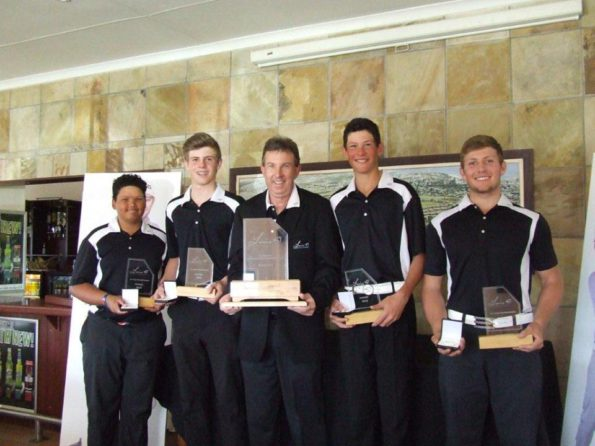 The Louis 57 Junior Golf Academy team, winners of the 2016 Louis Oosthuizen SA Junior Championship, with team manager Petrie Cronje from Louis 57; credit SCGU