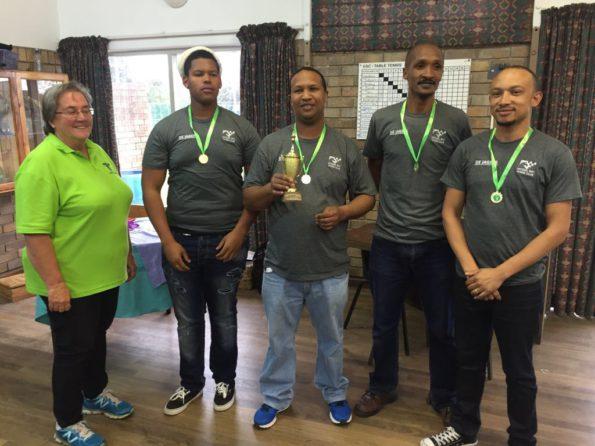 Saskia Quirk (League Organiser), Chaiden Kiewit, Morne Matthee, Gurome Gelderbloem and Ralph Botha