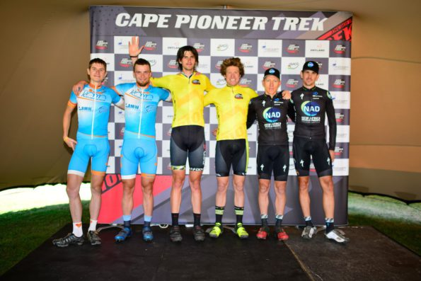 The top three men's teams after the prologue stage of the 2016 Cape Pioneer Trek international mountain bike stage race in Mossel Bay, South Africa on Sunday are (from left): Peeter Tarvus and Peeter Pruus (second), Matt Beers and Erik Kleinhans (first) and Gawie Combrinck and Nico Bell (third). Photo credit: www.zcmc.co.za
