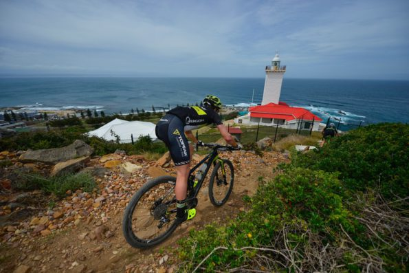Erik Kleinhans tackles a singletrack descent behind teammate, Matt Beers on their way to winning the prologue stage of the 2016 Cape Pioneer Trek international mountain bike stage race in Mossel Bay, South Africa on Sunday. Photo credit: www.zcmc.co.za