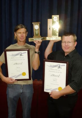 Two of the 2015 prestigious award winners are: Bussiness Person of the Year Tossie Steyn (left) and Business of the Year, Petri Conradie from Life Bay View Private Hospital. (PHOTO: Denise Lloyd)