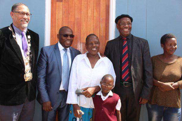 Mayor Colan Sylvester, Minister Bonginkosi Madikizela, Ms Nomayesa Banjatwa, Councillor Sthembile Stone