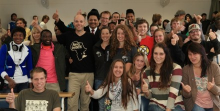 Supporting the Rhino Knights… Prof Quinton Johnson and the Rhino Knights team, Isabel Wolf-Gillespie with her husband, Lloyd and her sister, Raphaela, surrounded by NMMU George Campus staff and students. Photograph: by Kelvin Saunders