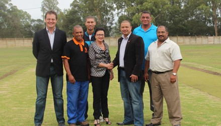 Present at the handing-over ceremony were back row:  Albertus Kennedy (CEO of SWD Cricket), Basil Esau (Chairperson of Riversdale Cricket Club), Granvin Scholtz (Riversdale Cricket Club) Alder lady Amor Nel (Executive Mayor of the Hessequa Municipality), Mr Rudy Claassen, President SWD Cricket, Mr Raymond Heunis (Manager Community Development at the Hessequa Municipality) and Chris Onrust (Director Community Services, Hessequa Municipality)