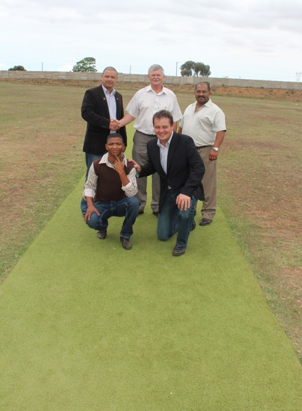 Present at the handing-over ceremony were back row:  Mr Rudy Claassen, President SWD Cricket, Mr Leon Fourie (member of the Executive Mayoral Committee of the Hessequa Municipality) and Mr Chris Onrust (Director Community Services at the Hessequa Municipality).  In the front row is ViaanHoogbaardt (Executive member/player of Slangrivier Cricket Club) and Albertus Kennedy (CEO of SWD Cricket)